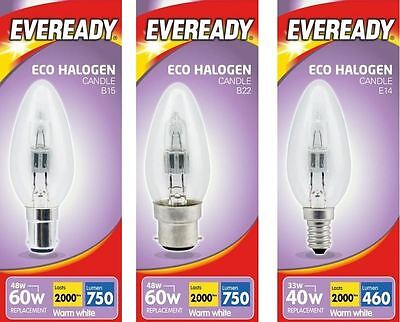 10 Pack Eveready Eco Halogen Clear Candle Light Bulb E14 B15 B22