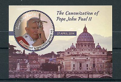 St Vincent & Grenadines 2015 MNH Canonization Pope John Paul II 1v S/S II Stamps