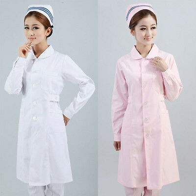 Long Lab Coat Medical Womens Pharmacist Stylish Nurse Scrubs Doctor Gown Jacket