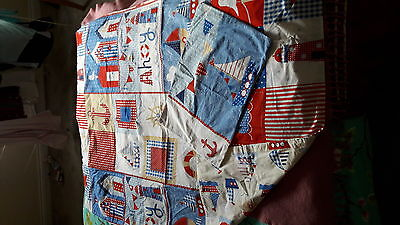 Nautical red white and blue cotbed toddler duvet cover.