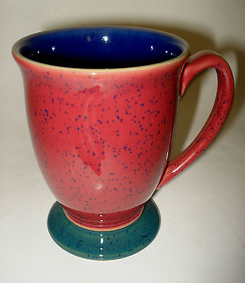 Denby England HARLEQUIN Stoneware Footed COFFEE MUG TEA CUP Red Blue Green Speck