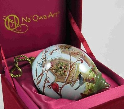 Home for the Holidays Ornament NeQwa Art Hand Painted Glass Cardinal 7151166