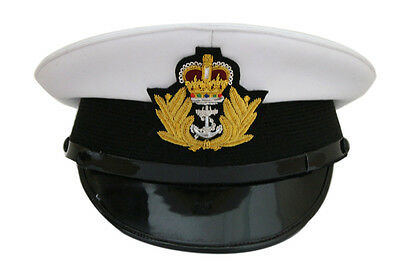 New Royal Navy Officers Peaked Cap Chin Strap Rn Wire Badge Uniform Fancy Dress