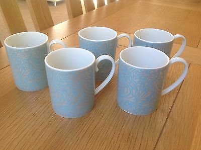 Five Denby Monsoon Home Lucille Teal Fine China Mugs New Condition