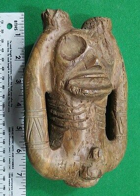 Taino Large Ceremonial Wood Male Effigy Sniffer - Pre Columbian  Museum Grade