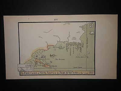 East Coast North America c1500 Map Canada Maine Florida Cuba
