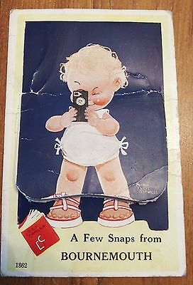 Vintage 1951 Mabel Lucy Attwell Bournemouth Fold Out Novelty Postcard - 1950s