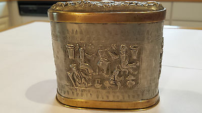 Antique Qing Chinese Export Repousse Silver Gilt or Pewter and Brass Tea Caddy