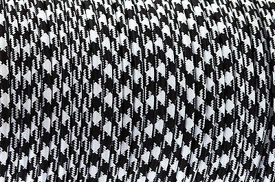 White+Black Square Round Silk Braided Vintage Fabric Coloured Flex 3 core 0.75mm