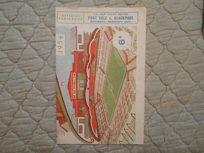Port Vale V Blackpool Fa Cup 5Th Round Match Programme + Glossy Team Photos 1955