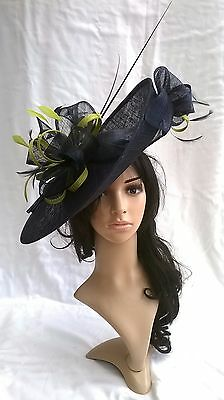 Navy Blue with Lime Hatinator ..hat.Large saucer disc Wedding.races.
