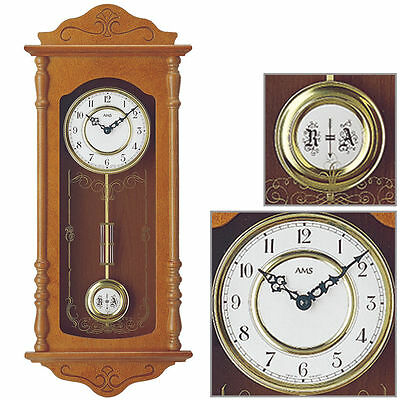 AMS Quartz wall clock with pendulum Cherry Melody Westminster New