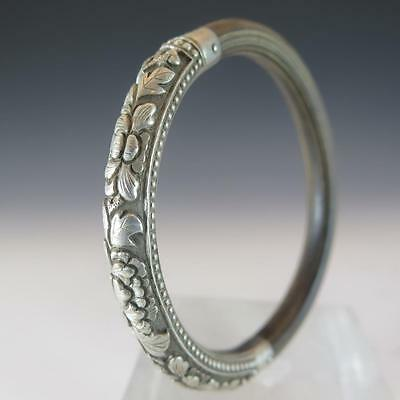 Fine Antique Chinese Wedding Bangle With Bamboo Or Rattan Silver