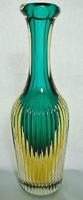 Flavio Poli Attributed Murano Sommerso Art Glass Ribbed Vase Bottle MCM Italy