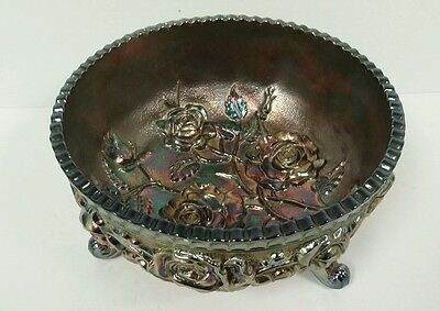 """Imperial Luster Lustre Open Rose Fernery 3-Footed Bowl BLUE  unmarked 7.5"""""""