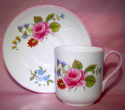 Shelley 'rose & Red Daisy' Canterbury Miniature Cup & Saucer