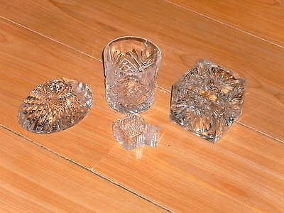 Lot Of Four Cut Glass Items: Candle Holder/ink Well-Paperweight/whisky Tumbler/s