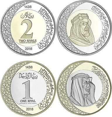 Saudi Arabia Lot 2 New Issue 1 & 2 Riyals Coin Mint 2016 Unc