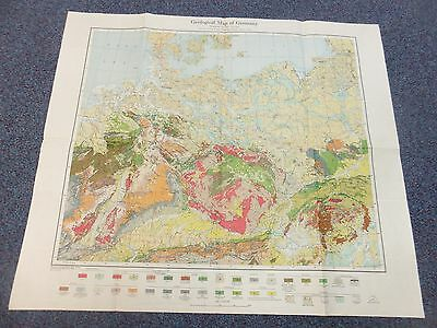 Rare Vintage WWII Geological Map of Germany - RAF Airforce MAP 1944 Pilots