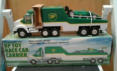 1993 Bp Toy Race Car Carrier Truck Trailer - Limited Edition Series Lights