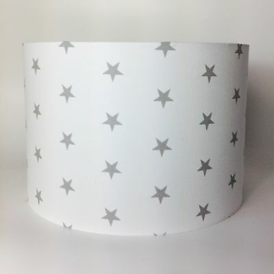 Children's Babies Grey Stars on White Fabric Light Shade Ceiling or Lamp Shade