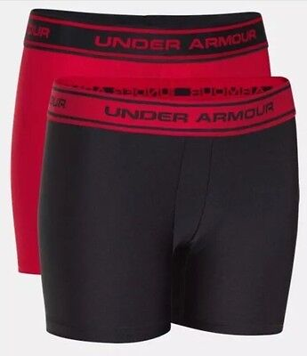 UNDER ARMOUR 2-PACK BOYS BOXERJOCK 1241922 004 Youth Size Small YSM Red Black