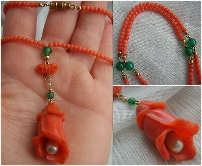 ART DECO Hand Carved CORAL Pearl & Imperial JADE Lotus Flower Pendant Necklace