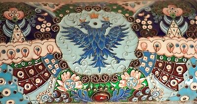 RUSSIAN SILVER CLOISONNÉ ENAMEL IMPERIAL EAGLE CIGAR CASE HOLDER 237 gr