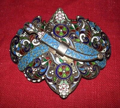 ANTIQUE RUSSIAN SILVER GILT CLOISONNE ENAMEL BELT BUCKLE BROOCH 63g S PETERSBURG