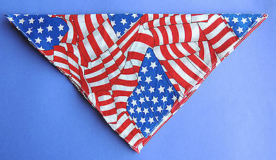 "1 Lg Patriotic Dog BANDANA 22""x22"" USA Flag Collage Red White Blue Stars/Stripes"