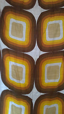 Vintage Retro 1960s geometric barkcloth curtains