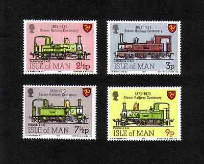 Isle of Man 1973 Steam Railway Centenary complete set of 4 values (SG 35-38) MNH