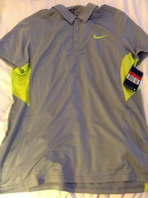 Nike Court Sphere Grey Dri Fit Polo Top Tennis Size Large 644778 088