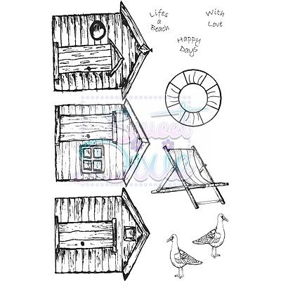 Sweet Dixie Clear Stamps Beach Huts cardmaking scrapbooking craft seaside art