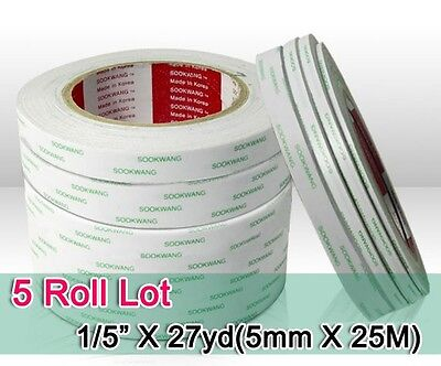 """Sookwang Double Sided Adhesive Tape : 5 Roll Lot 1/5"""" x 27yd Double-sided Tape"""