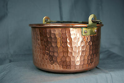 Vintage Copper And Iron Cauldron Swing Handle Plant Planter Jardiniere Hammered