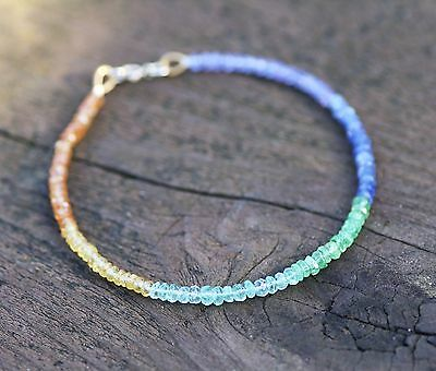 Natural Sapphire Emerald Rainbow Gem Bracelet Solid 14K Yellow Gold Anniversary