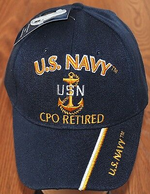 3023d8a58a6 New Blue US Navy CPO Chief Petty Officer Retired Hat Ball Cap Veteran  Military