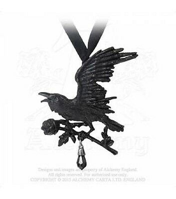 Genuine Alchemy Gothic Harbinger Pendant/Necklace, Raven, Black Rose, Swarovski