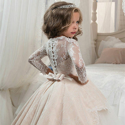 Girls Party Flower Formal Wedding Princess Prom Bridesmaid Christening Dress