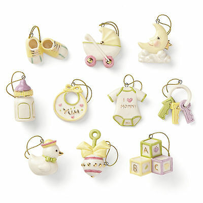 Lenox Baby Memories 10 Pc Mini Ornament Set MSRP $160 New (Tree NOT Included)