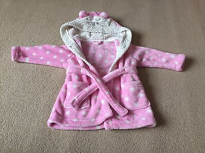 Girls Pink Dressing Gown 9-12 Months