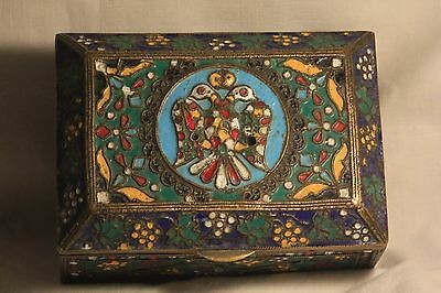 RUSSIAN COPPER/BRONZE CLOISONNE ENAMEL JEWELLERY CASKET/BOX IMPERIAL EAGLE 600gr
