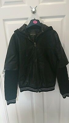 Mens river Island leather look jacket size small