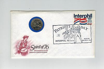 Usa 1976 Illustrated 1/4 Dollar Coin Cover Pnc America's Bicentennial Interphil