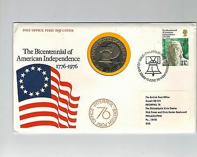 Gb / Usa 1976 Illustrated 1 Dollar Coin Cover Pnc Bicentennial Independence Fdc
