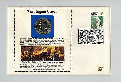 Gb / Isle Of Man 1976 Washington Crown Coin Cover Pnc American Independence
