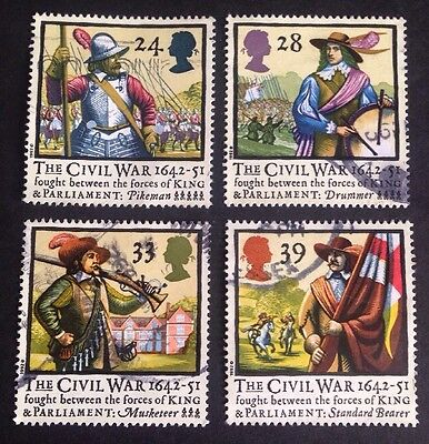 COMMONWEALTH - GB 1992 250th Anniversary of the  CIVIL WAR Set (4) Used Stamps