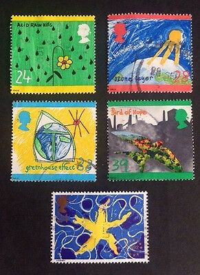 COMMONWEALTH GB Protection of the Environment Set (4) Plus Euro Star Used Stamps