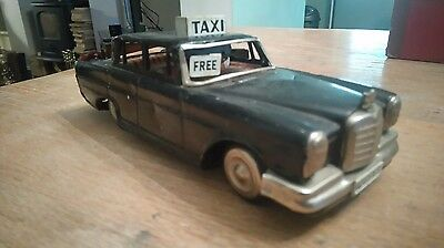 Vintage Tinplate Mercedes Taxi Friction Car